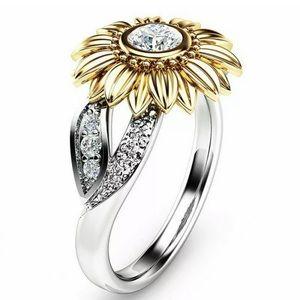 Gorgeous Crystal Sunflower Ring White Topaz Ring